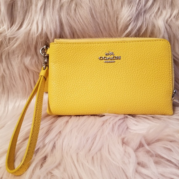 1c818e3901 Coach Handbags - Coach Wristlet - Lemon Yellow 100% leather